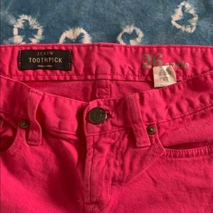 JCrew Bright Pink Cropped Jeans